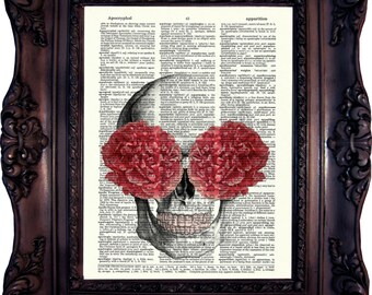 Floral Skull Art Print on book page. Anatomy Art Print. Medical Print. Vintage Dictionary Art Print. Skull Print. Code:066