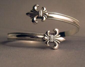 Sterling Silver 925 Fleur de lis wrap cuff bracelet adjustable