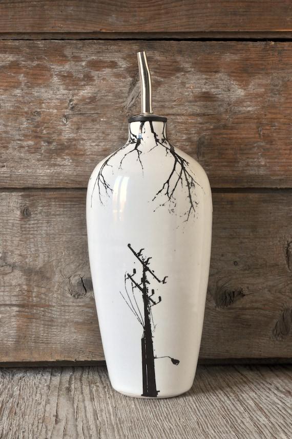 Porcelain oil/vinegar bottle with electric pole prints