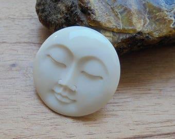 35 mm Moon Face Pendant, Single Face Bead, Bali Bone Carving P345