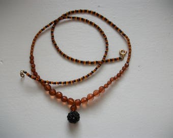 Handmade ethnic necklace, mixed, Brown and black.