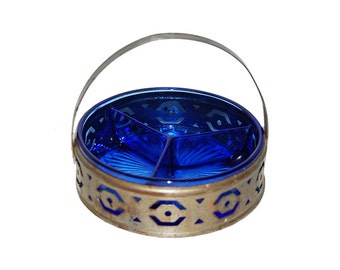 Vintage Cobalt Blue Glass Divided Relish Dish with Metal Pierced Carrier
