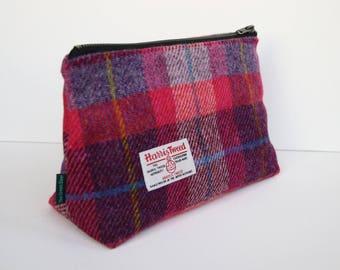 Harris Tweed big make-up bag in pink and purple tartan with water-resistant lining