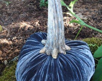 Handmade Extra Large Grey velvet pumpkins with real dried pumpkin stem.