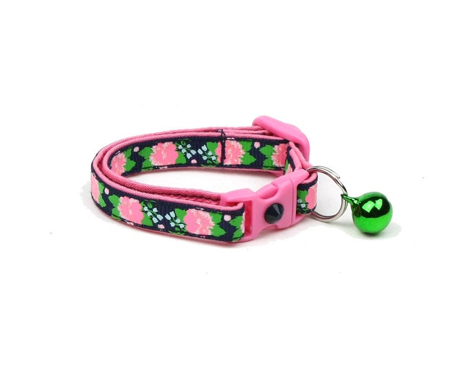 Flower Cat Collar - Pink Carnations on Navy - Small Cat / Kitten Size or Large Size