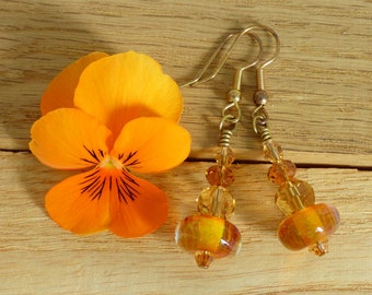LAMPWORK GLASS EARRINGS,  artisan art glass beads with crystal, ideal gift, wife, girlfriend, best friend, sister, one of a kind.