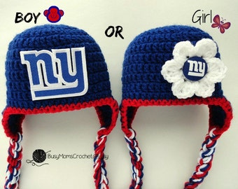 Handmade New York Giants inspired crochet baby HAT ONLY, boy or girl style available, football hat, handmade, baby to child