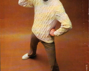 Men's Vintage Pullover Knitting Pattern from 1970 - Burlington Bravo 'Aran Fisherman Sweater' Size 38/40 or 42/44 Chest