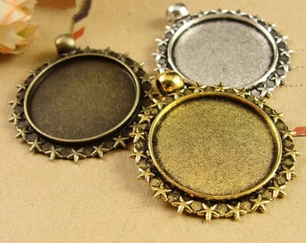 30Pieces/lot 25mm/1 inch Round Zinc Alloy Pendant Trays Blanks Bases Cameo Cabochon Setting fit 25mm/1 inch Round Cabochons