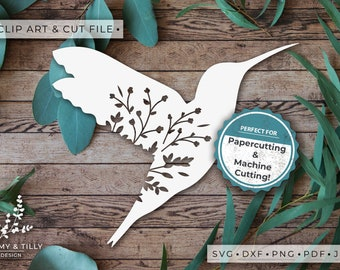 Hummingbird Silhouette - Clipart & Cut File - Hand Papercutting - Cricut / Silhouette - SVG DXF PNG Pdf Jpg - Kids Children Nursery