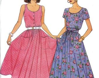 Butterick 3869 Easy Sun Dress Sleeveless Blouson Bodice Flared Skirt Size 8 10 12 Uncut Vintage Sewing Pattern 1986 1980s