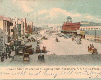 Vintage Postcard, Philadelphia, Pennsylvania, Delaware Ave from Chestnut St, Railroad Ferries