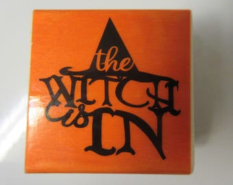 "2"" x 2"" The Witch Is In Halloween Rubber Stamp-Halloween Stamps"