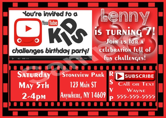 Youtube birthday party invitations printable invitation youtube birthday party invitations printable invitation youtubers youtube birthday party youtube party youtube kids challenges party stopboris Images