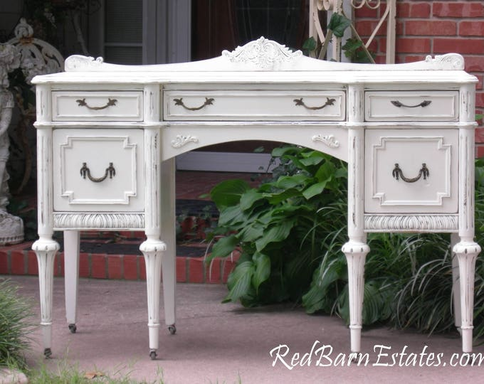 ANTIQUE DESK Custom Order Your Own Painted To Order The Shabby Chic Furniture Shabby Desk Antique Desk Painted Desk