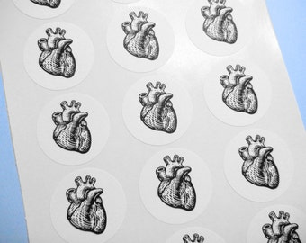 "Anatomical Heart Sticker Seal -  1"" One Inch Round Sticker Envelope Seals - B&W, Sheets of 15 - by Blossom Arts"