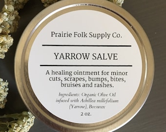 Yarrow Salve - Herbal First Aid - Yarrow Balm - Healing Balm - Ethically Wildcrafted - First Aid Salve - Bruise Salve - First Aid