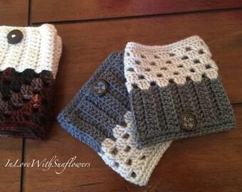 Boot Cuffs - leg warmers - Boot Socks - Crochet Boot Cuffs - Fashion Accessory - Winter Accessory  - Under 15 Gift - stocking stuffer