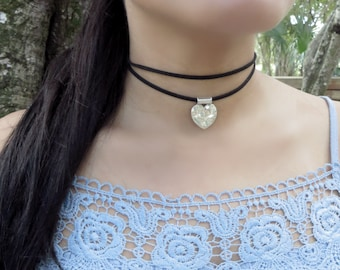 Black Choker, Double Suede Choker, Heart Choker, Suede Leather Choker Necklace, Double Layers Choker,Layering Choker,Dainty Choker Necklace