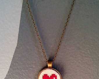 Heart Cross Stitch Necklace