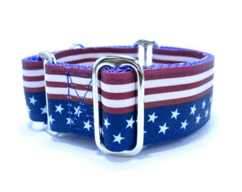 "Houndstown 1.5"" Flag Band Unlined Buckle or Martingale Collar, Any Size"