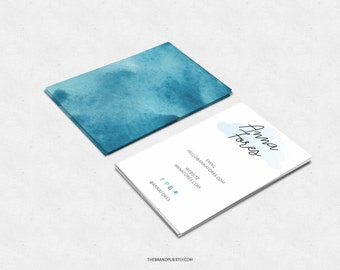 Watercolor Business Card - Calligraphy Logo - Blue Watercolor Design - Premade Business Card Design - Feminine Design