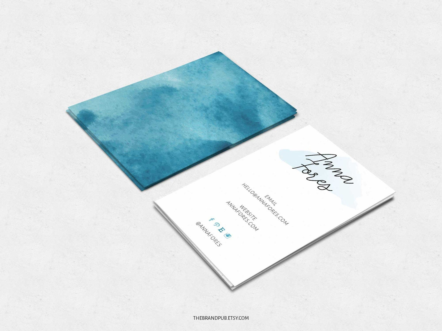 Watercolor Business Card Calligraphy Logo Blue Watercolor