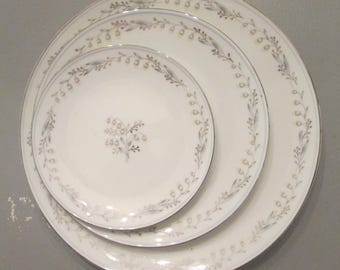 """Vintage Noritake China - Three """"Natalie"""" Plates - Lily of the Valley Dishes - Replacement Pieces - Japan"""