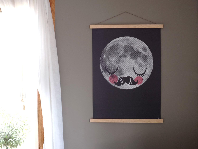 Natural Wood Poster Hanger Oak Wood Magnetic Artwork Print