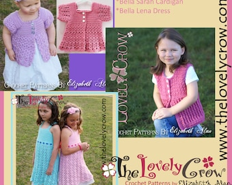 Crochet Pattern Cardigan Dress for girls BELLA BUNDLE