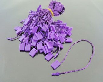Hang Tag String - 100pcs Purple Hang Tag String with Plastic Fastener
