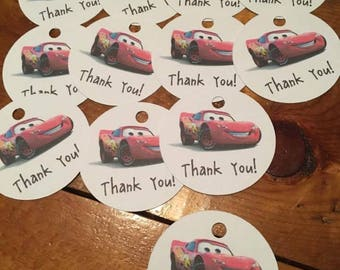 12 Cars Party Favor Thank You Tags (can be personalized)