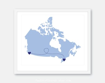 Long Distance Print - Gift for Boyfriend - Canada Map Print - Going Away Gift -Valentines Day Gift - Long Distance Engagement