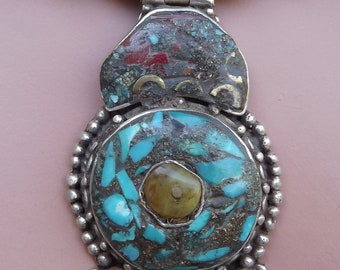 Tibetan Sterling Pendant set with Natural Turquoise