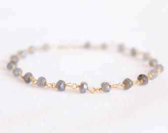 Labradorite Bracelet - Gemstone Beaded Bracelet - Stacking Bracelet - Layering Bracelet - Simple Gold Bracelet - Luminescent Grey Bracelet