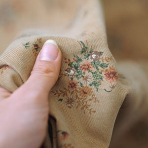 Floral Corduroy Cotton by the yard (width 44  inches) 30692 Beige