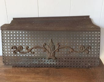 Antique Vent Cover, Wall Vent Cover, Ornate Perforate Metal Vent Cover, Cast Iron, Architectural Salvage