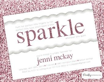 Leave a Little Sparkle: Pink Glitter Girl Baby Shower or Sprinkle Invitation