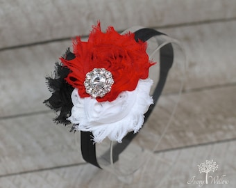 Red Black and White Headband - Baby Headband - Adult Headband - Photo Prop - Red Headband - Black Headband - Red and Black