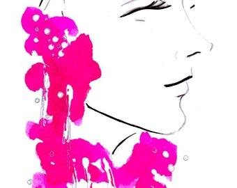 Delpozo Spring 2017 02 Art Print Fashion Illustration, Fashion Sketch, Fashion Art, Watercolour Illustration