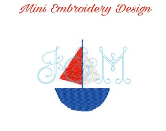 Sailboat Mini Embroidery Monogram Motif