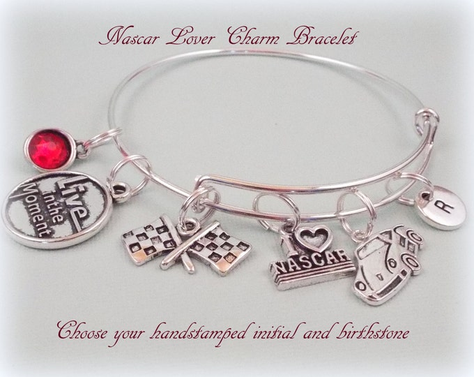Sports Gift Idea, Nascar Lover Jewelry, Car Racing Charm Bracelet, Gift for Sports Lover, Gift Ideas for Her, Women's Gift Ideas, Nascar