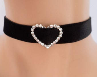 black velvet choker, diamante crystal, rhinestone heart, stretch velvet, bridal