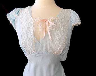 1930s 1940s Bias Cut Night Gown with Lace Something Old & Blue