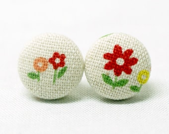 Flower Earrings (Set of 2) ~ Button Earrings ~ Fabric Button ~ Covered Button - 15mm (0.59 inch)