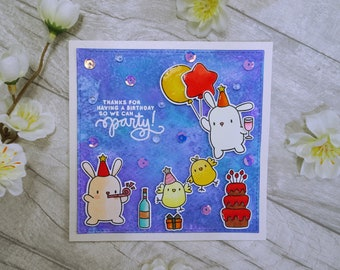 Thanks for Having a Birthday So We Can Party, Mama Elephant Party Animals, Whimsical Birthday Card, Cute Critters Card, Handmade Unique Card