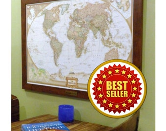 First Year Anniversary Personalized World Push Pin Travel Map with Brass Plate Push Pins and Frame