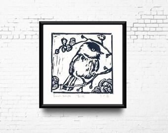 "Bird Linocut Print, 8x8"" Print in Grey, Hand Pulled Print, Small Original Artwork, Bird in Tree Art, Block Print, Ready to Ship"