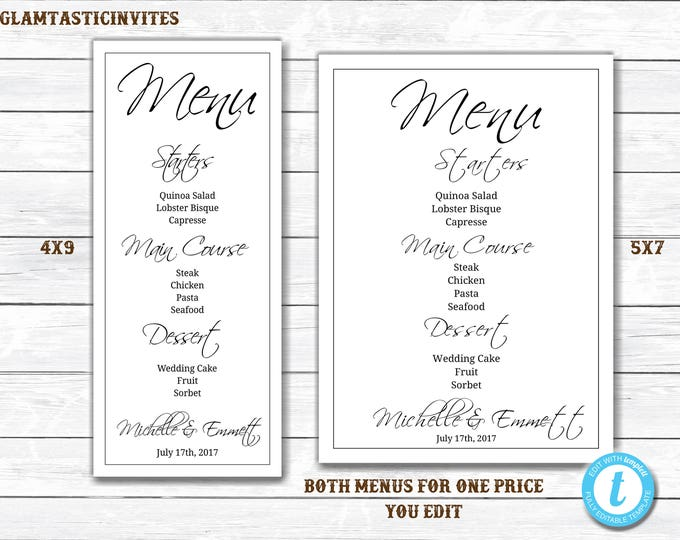 Wedding Menu Template, Menu Template, White and Black Menu, Menu Card Template, YOU EDIT, Menu party Template, Printable Menu, Reception