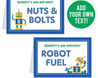 EDITABLE INSTANT DOWNLOAD Robot Party Buffet Cards - Editable, printable table tent cards